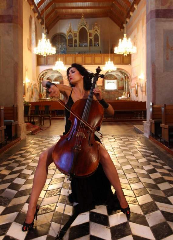 cellist in church
